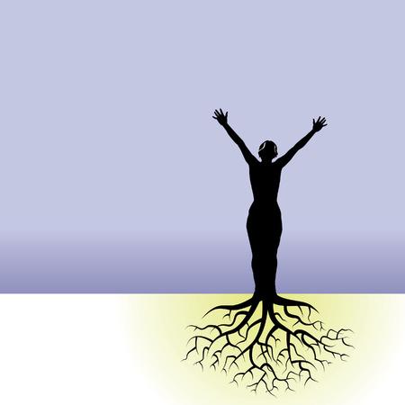 boom wortels: Deze vector achtergrond is een vrouw met boomwortels