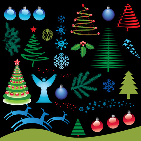 A set of vector Christmas elements for design use Ilustrace