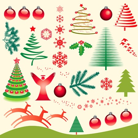 A set of vector Christmas elements for design use Vector