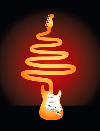 whose: Una chitarra elettrica il cui collo forma un albero di Natale Vettoriali