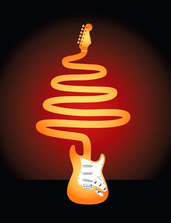 An electric guitar whose neck forms a Christmas tree