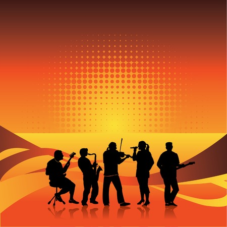 Live band on stage, has space for text Stock Vector - 4063202