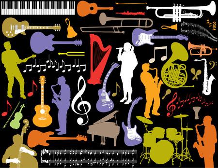 acustica: Colorful vettore musica elementi.