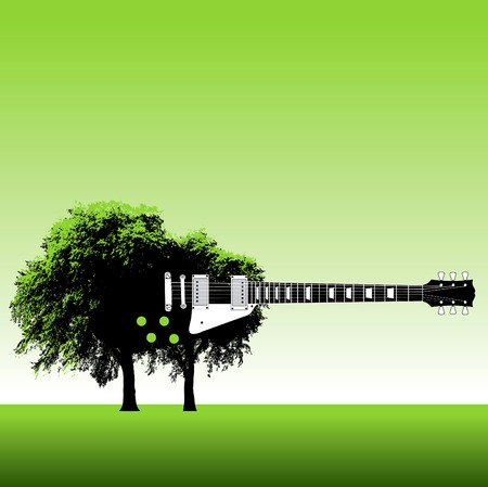 Guitar tree background Vector