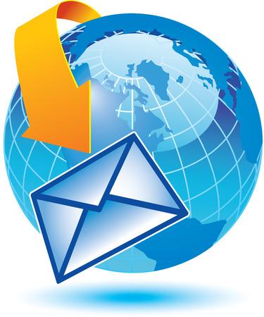 이메일이 지구를 에워싸는 방법에 대한 묘사 스톡 콘텐츠 - 4063251