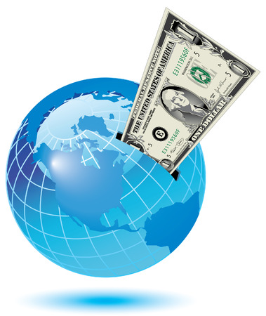 A dollar bill sticking out of a slot on the earth Vector