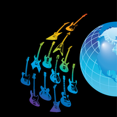 A rainbow of Guitars circle the earth in vector format Vector