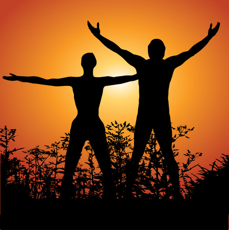 Silhouette of a man and woman with arms lifted up to the sky