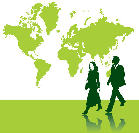 World map vector background with business people in the foreground Stock Vector - 4071050