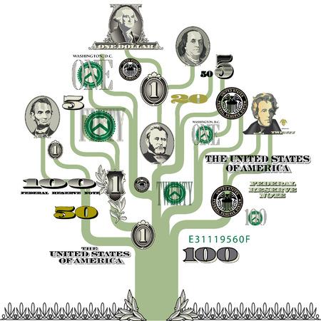 Vector money tree Illusztráció