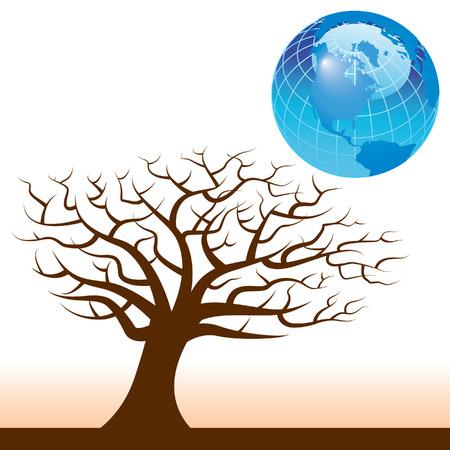 地球と木のベクトルの背景
