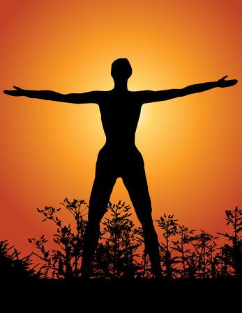 oneness: Silhouette di una donna con le braccia innalzato al cielo Vettoriali