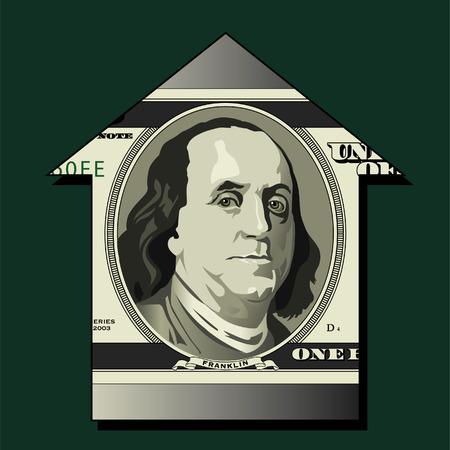 An upward arrow made from a 100 dollar bill in vector format Vector