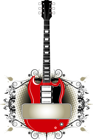 rock logo: Guitarra grunge banner en formato vectorial