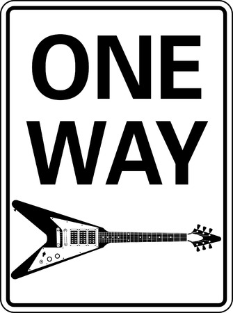 One way guitar sign vector Vector