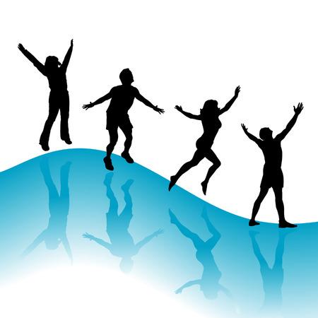 h�nde in der luft: Happy jumping Fr�hling Menschen vector background