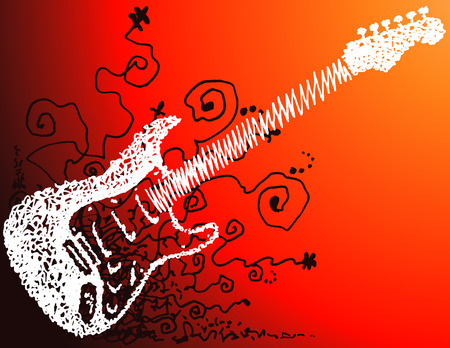 sketched: An electric guitar sketched on red grunge background. Illustration