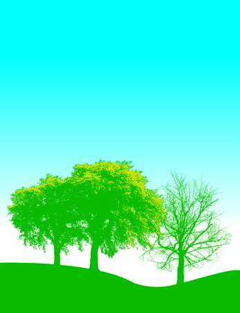 Vertical spring vector background with trees and space for text Vectores