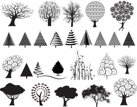 landscaped garden: choice of 26 vector trees in a variety of styles