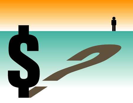 answer question: Insicurezza finanziaria incombe in un paesaggio astratto  Vettoriali