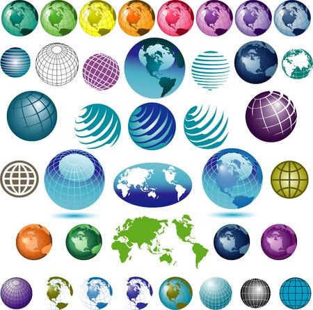 38 vector globes om uit te kiezen