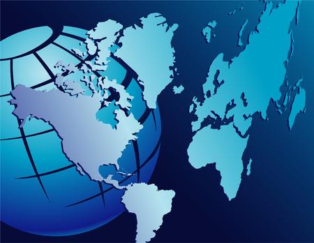 バック グラウンドでグローブと青の世界地図のイラスト  イラスト・ベクター素材
