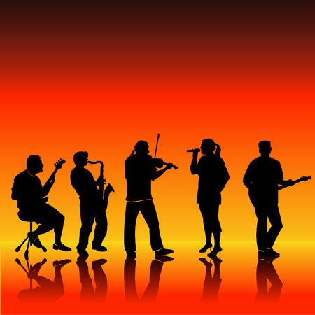 バンドの 5 人のミュージシャンのベクトル シルエット  イラスト・ベクター素材