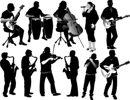 11 のミュージシャンのシルエット  イラスト・ベクター素材