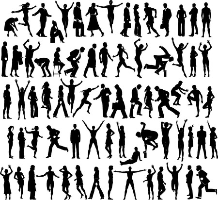 34 human figure silhouettes in different actions. Also available in vector format Illustration