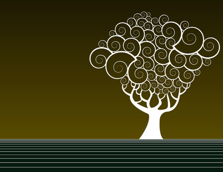 computergraphics: Vector tree background with space for text Illustration