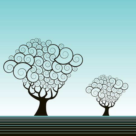 Vector tree background with space for text Ilustração