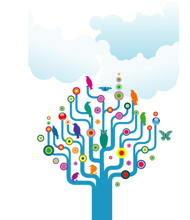 An abstract illustrated tree filled with colorful birds and butterflies Vettoriali
