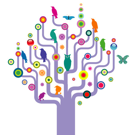 An abstract illustrated tree filled with colorful birds and butterflies Vector