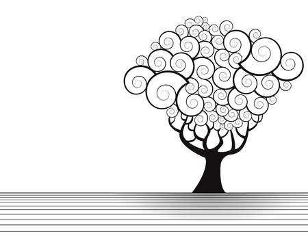 Vector boom landschap met ruimte voor tekst