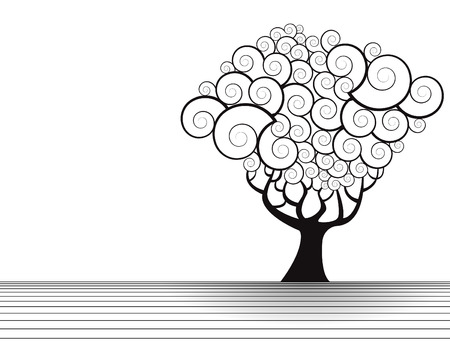 tree logo: Vector tree landscape with space for text
