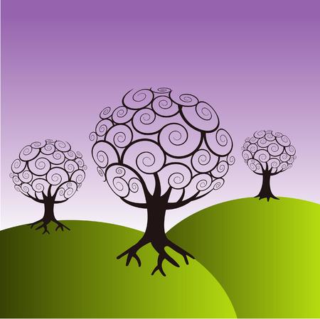 Illustration of trees on green hills.