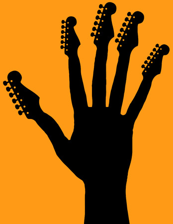 logo music: Hand with guitar headstocks Illustration