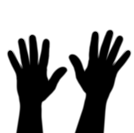 Two silhoutted hands