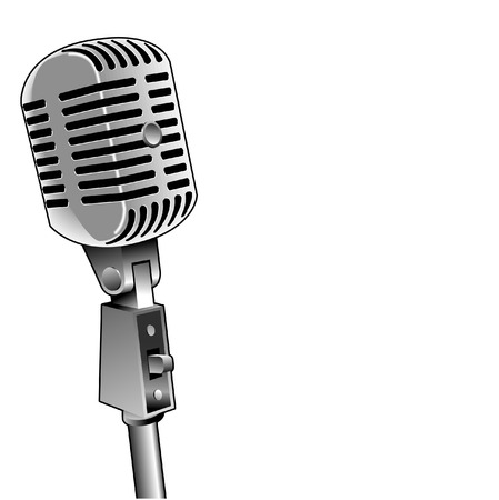 Een vector mic met achtergrond ruimte voor tekst Stock Illustratie