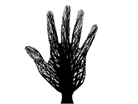 A vector tree thats also a hand Ilustracja