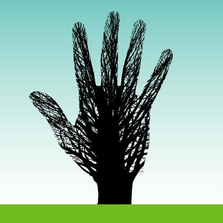 manos logo: Un �rbol que forma una mano Vectores