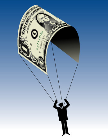 A man uses a dollar for a parachute, in vector format