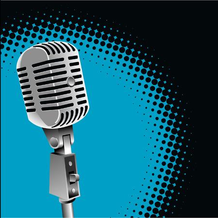 Een vintage microfoon vector met een schijnwerper achtergrond