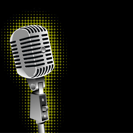 A vintage microphone vector with a spotlight background