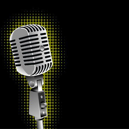Een vector oldtimers microfoon met een spotlight-achtergrond