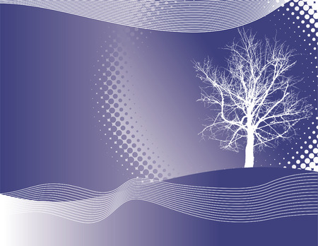 webbing: A winter vector background with a tree