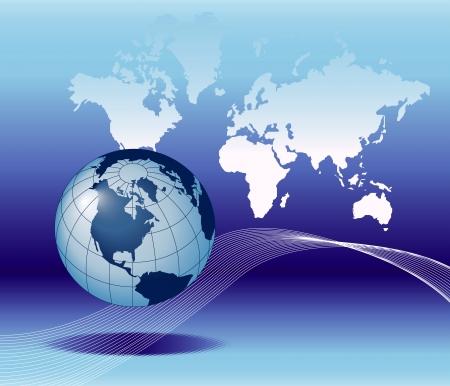 Illustratie van de bol op de achtergrond van de aardekaart met e-mailsymbool.