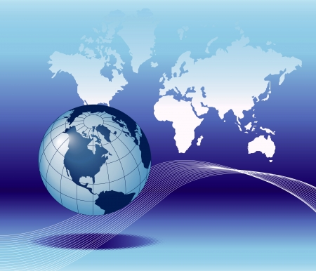 contact: Illustration of the globe on earth map background with e-mail symbol.