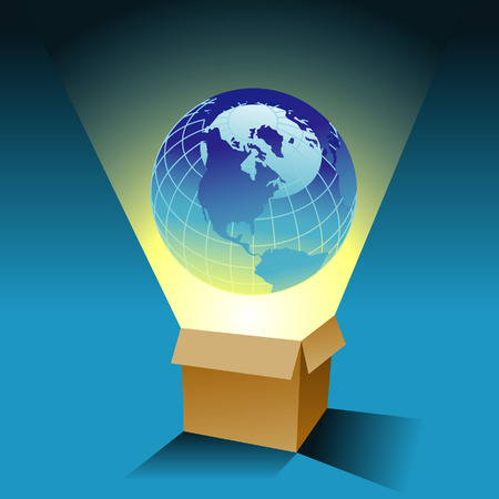 masculin: a globe coming out of a box Illustration