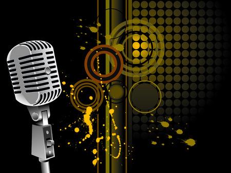 vintage microphone - vector 일러스트